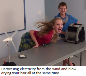 Harnessing electricity from the wind and blow drying your hair all at the same time